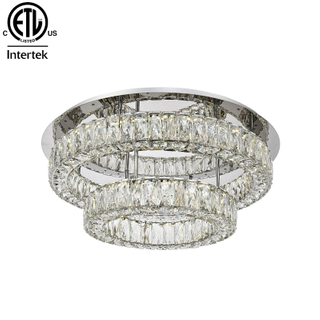 Unique Ceiling Light Modern Stainless Crystal Ceiling Lamp Flush Mount LED Crystal Ceiling Lights