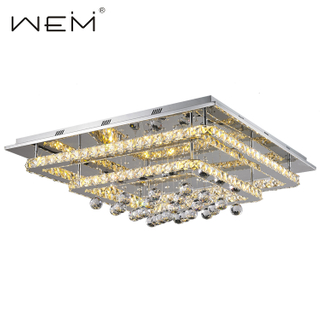 Hot Sale Hotel Luster Decor Crystal Ceiling Light Modern LED Square Crystal Ceiling Lights Living Room