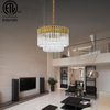 Modern Chandelier Lighting Fixtures Indoor Brass Finish Indoor Round Hanging Lamp Stairs Crystal Pendant Light Vintage Light
